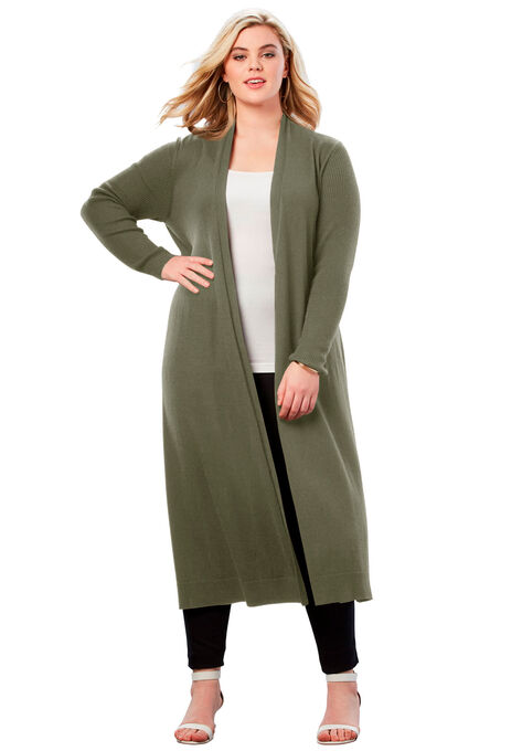 9c0d8420 Fine Gauge Duster Cardigan With Shawl Collar| Plus Size Cardigans ...
