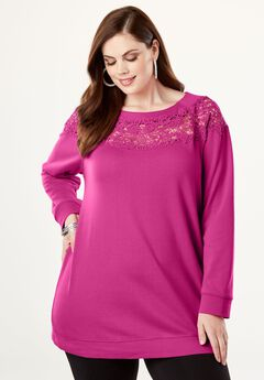Lace Tunic Cotton Terry Sweatshirt, , hi-res
