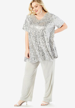Trapeze Tunic & Pant Set with Sequin Embellishment, SILVER SHIMMER