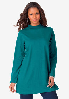 Mockneck Ultimate Tunic, GEMSTONE GREEN