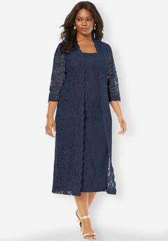 Flyaway Full Length Jacket Dress, NAVY, hi-res