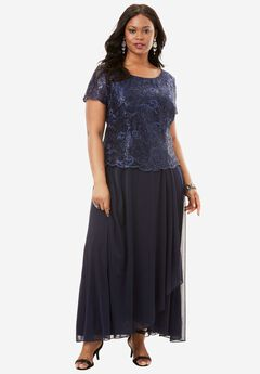 Embroidered Bodice Dress by Alex Evenings, NAVY, hi-res