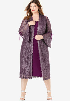 Lace Duster Jacket Dress Set, DARK BERRY