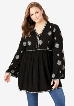 Embroidered Crinkle Tunic, BLACK BOHO EMBROIDERY