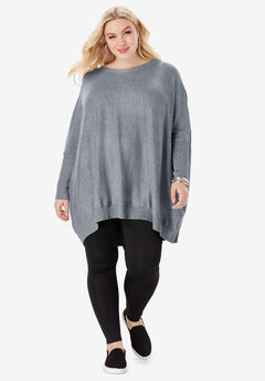 Flyaway Back Sweater With High-Low Hem,