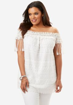 Off-The-Shoulder Lace Top, WHITE, hi-res