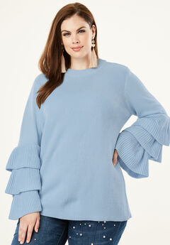 Tiered-Sleeve Sweater, PALE BLUE