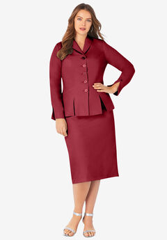 Two-Piece Skirt Suit with Shawl-Collar Jacket, RICH BURGUNDY