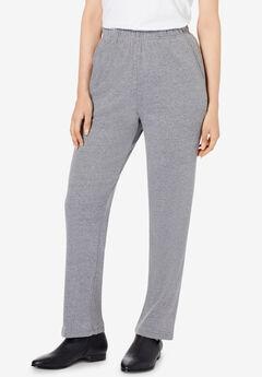 Straight-Leg Soft Knit Pant, MEDIUM HEATHER GREY
