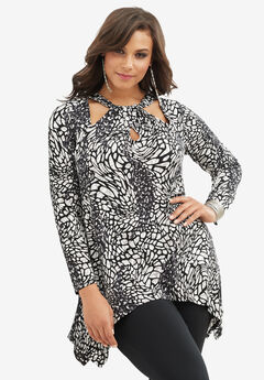Cutout Swing Tunic, BLACK WHITE ANIMAL PRINT, hi-res