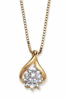 Gold & Sterling Silver Diamond Pendant,