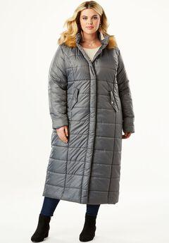 Quilted Faux-Fur Trim Maxi Length Parka, , hi-res