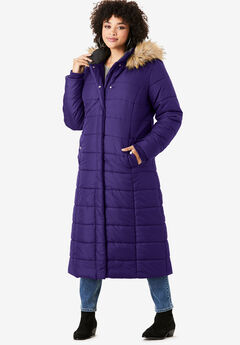 Maxi-Length Quilted Parka with Hood, MIDNIGHT VIOLET