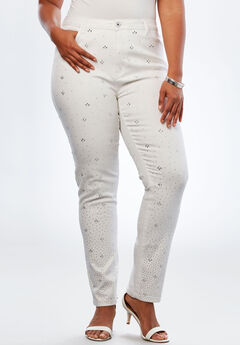 Crystal Skinny Jean by Denim 24/7®, WHITE, hi-res