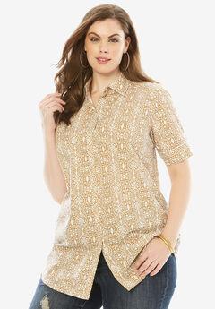 Short-Sleeve Kate Bigshirt, KHAKI TRIBAL
