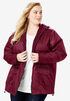 Hooded Jacket with Fleece Lining, MERLOT