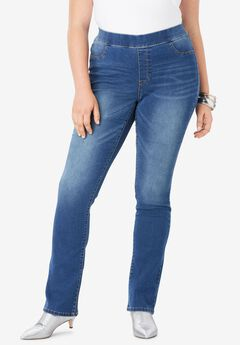 Bootcut No-Gap Jean by Denim 24/7®, MEDIUM STONEWASH