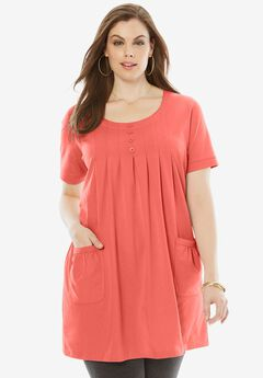 Two-Pocket Trapeze Tunic, DUSTY CORAL, hi-res