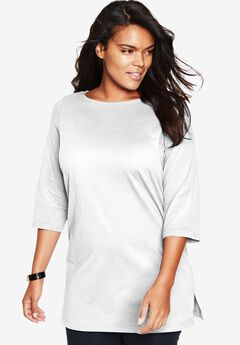 The Boat Neck Maxi Tunic, WHITE, hi-res