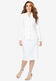 Two-Piece Skirt Suit with Shawl-Collar Jacket, WHITE