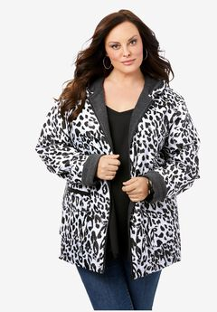 Hooded Jacket with Fleece Lining, WHITE CHEETAH
