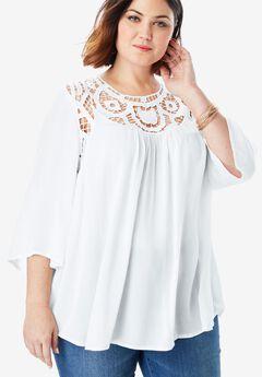 Lace Crochet Tunic, WHITE