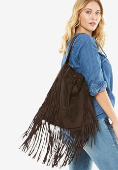 Fringe Bag, DARK BROWN, hi-res