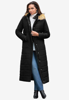 Maxi-Length Puffer Jacket with Hood, BLACK