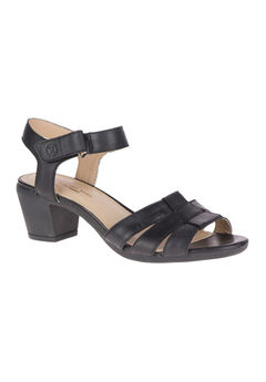 Masseter Quarter Strap Sandals by Hush Puppies®, BLACK LEATHER, hi-res