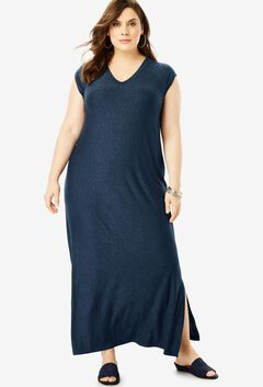 Side Slit T-Shirt Dress by Denim 24/7,