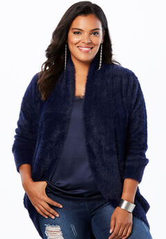 Textured Cardigan with Shawl Collar,