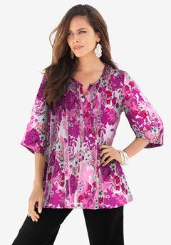 Tara Pleated Big Shirt, RASPBERRY BLOOM FLORAL
