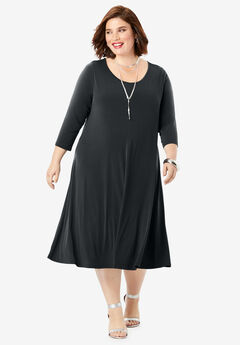 Three-Quarter-Sleeve Swing Drape Dress,