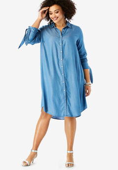 Tencel® Tie-Sleeve Kate Shirtdress, MEDIUM STONEWASH