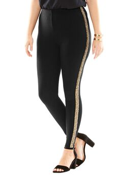 Gold Beaded Tuxedo Legging,