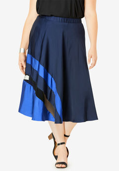 Colorblock Midi Skirt,
