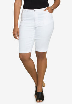 Bermuda Shorts with Invisible Stretch® Waistband by Denim 24/7®, WHITE DENIM