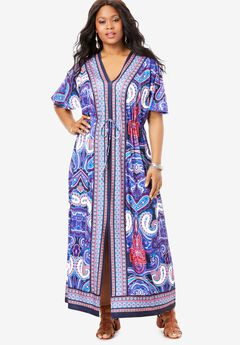 Border-Print Maxi Dress,