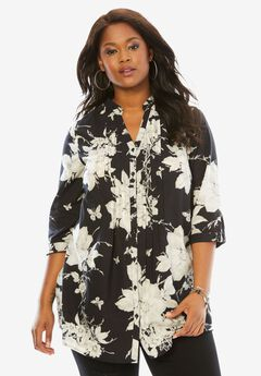 English Floral Tunic with Pintucks, BLACK WHITE PRINT, hi-res