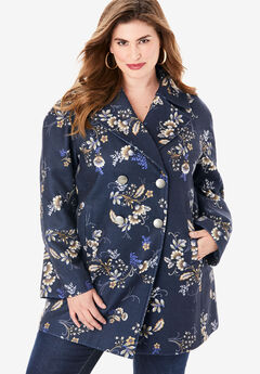 Printed Modern A-Line Peacoat, NAVY FOLKLORE