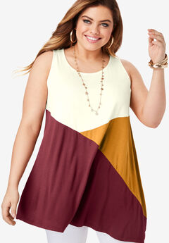 Colorblock Drape Tunic Tank,