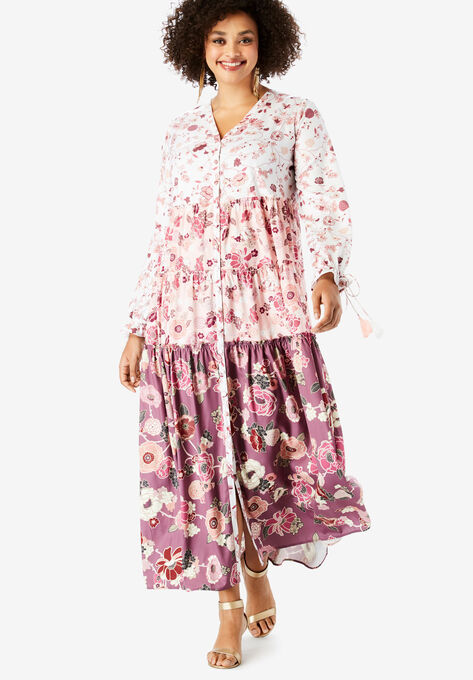 623ffc38a6a Drawstring-Sleeve Maxi Dress with Tiered Skirt
