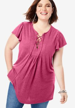 Ruffle Lace-Up Tunic with Ruching,