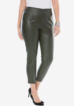 Faux Leather Leggings, OLIVE, hi-res