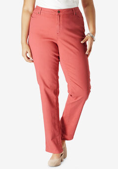 Straight Leg Jean with Invisible Stretch® by Denim 24/7®, SUNSET CORAL