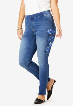 The No-Gap Jegging by Denim 24/7®, EMBROIDERY