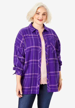 Flannel Tunic, VIOLET OPEN PLAID