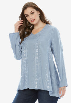 Embroidered V-Neck Trapeze Tunic, BLUE CLOUD, hi-res