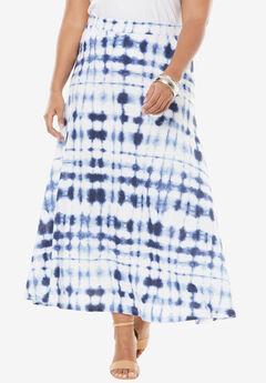 Knit Maxi Skirt, EVENING BLUE TIE DYE, hi-res