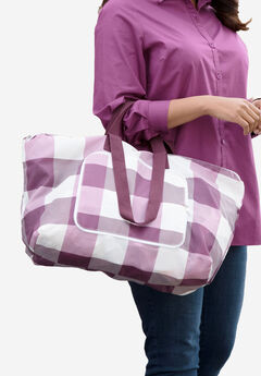 3-Piece Foldable Tote Bag, MIDNIGHT BERRY PLAID, hi-res